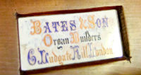 Bates and Son Organ Plaque